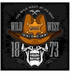 Cowboy Skull in the Hat and Sheriffs star vector image