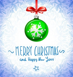 Cristmas balls green on blue background snowflake vector image