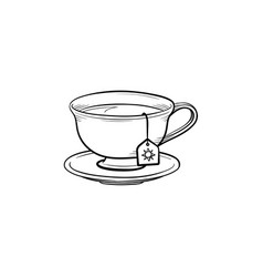 Cup with tea bag hand drawn sketch icon vector