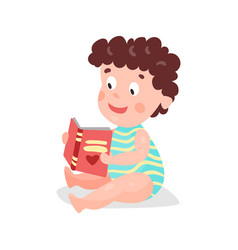 cute cartoon curly toddler boy sitting on the vector image
