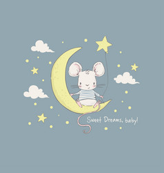 cute little mouse on moon vector image