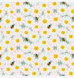cute pastel flowers seamless repeat pattern vector image