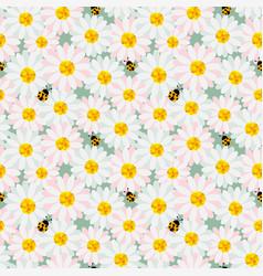 cute pastel flowers seamless repeat pattern vector image