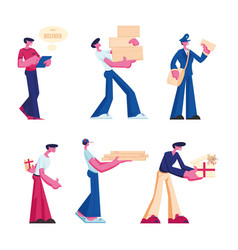 delivery and post office service set male vector image