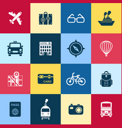 Digital red blue yellow travel icons vector
