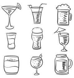 Doodle drink various hand draw vector