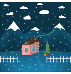 drawing of a house on a background of mountains vector image