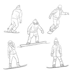 drawing snowboarders vector image