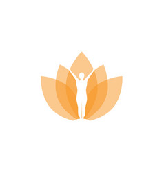 elegant lotus with yoga pose in negative space vector image