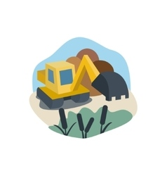 Excavator on the marsh land work near reeds logo vector image