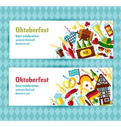 Flat design banners set with oktoberfest vector