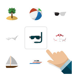 Flat icon summer set of deck chair spectacles vector