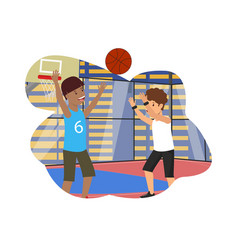 flat physical lesson guys play basketball vector image