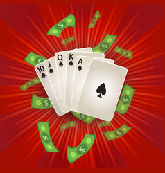 Flat royal flush in spades rain of dollar vector