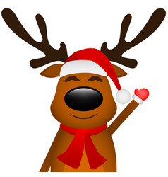 funny reindeer in a scarf for christmas smiling on vector image