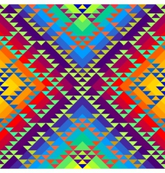 Geometric triangles pattern on rainbow colorful vector image