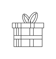 Gift in a box icon outline style vector image