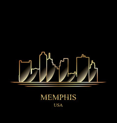 gold silhouette of memphis on black background vector image