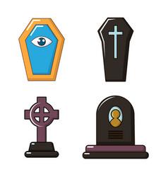 grave icon set cartoon style vector image