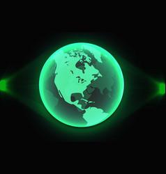green world map global hologram vector image