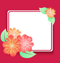 greeting card frame with flowers template for vector image