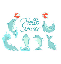 Greeting card with dolphins with inscription vector