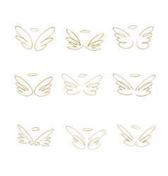Hand drawn wings set of design elements vector