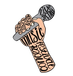 Hand holding the microphone vector image