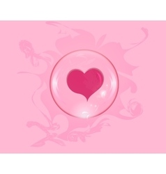 Heart soap bubble with reflections colored vector
