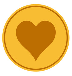 hearts suit gold coin vector image