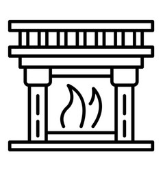 home fireplace icon outline style vector image