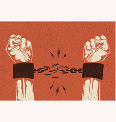 human hands break chain vector image