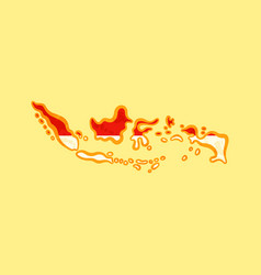 Indonesia - map colored with indonesian flag vector