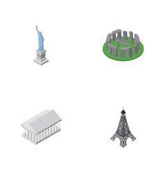 isometric cities set of paris new york athens vector image