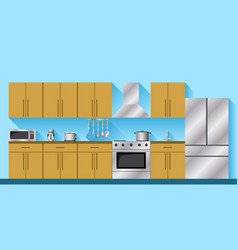 kitchen furniture and appliances vector image