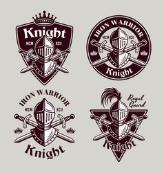 Knight set four medieval vintage emblems vector
