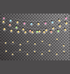 led neon glowing lights lamps garlands decorations vector image