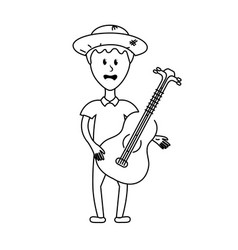 Line man with hat and guitar instrument vector