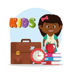 Little afro schoolgirl with education supplies vector