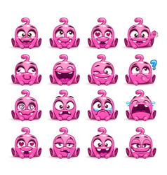 Little cute funny pink alien set vector