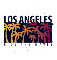 los angeles surfing graphic with palms t-shirt vector image