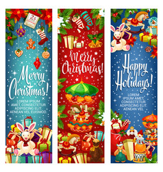 merry christmas gifts greeting banners vector image