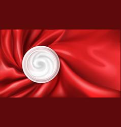 Moisturizing cream on red silk background vector