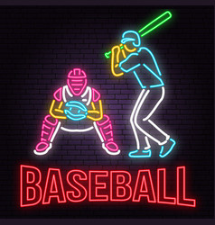 neon baseball or softball sign on brick wall vector image