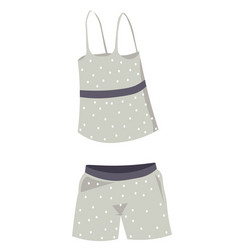 Pajama for females top and shorts for sleeping vector
