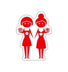 Paper sticker on white background two girls gifts vector