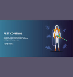Pest control banner horizontal cartoon style vector