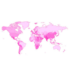 Pink world map with countries vector