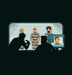 Policemen silhouettes in secret room with arrested vector