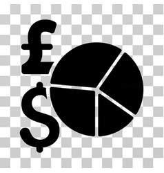 pound and dollar pie chart icon vector image